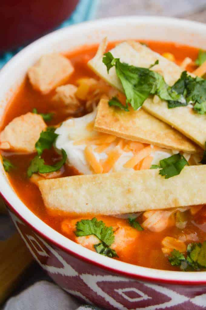 Chicken Tortilla Soup Close up in red and white bowl