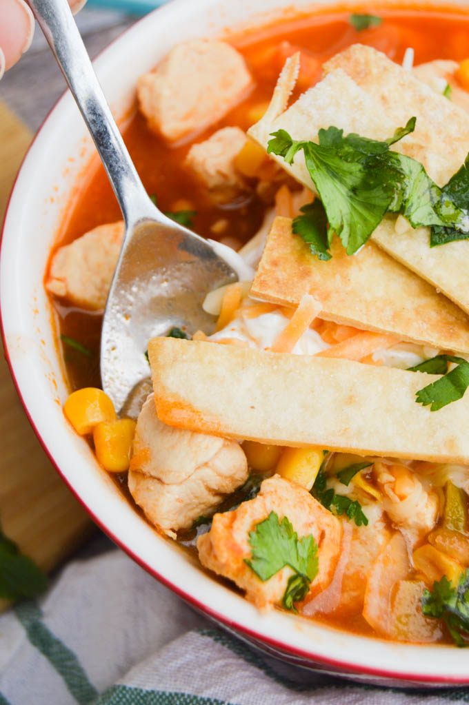 Closeup of Chicken tortilla soup
