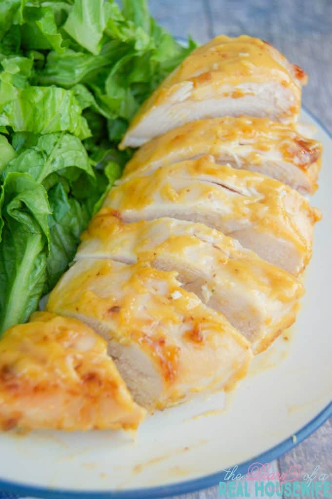 Honey Mustard chicken on plate with a salad