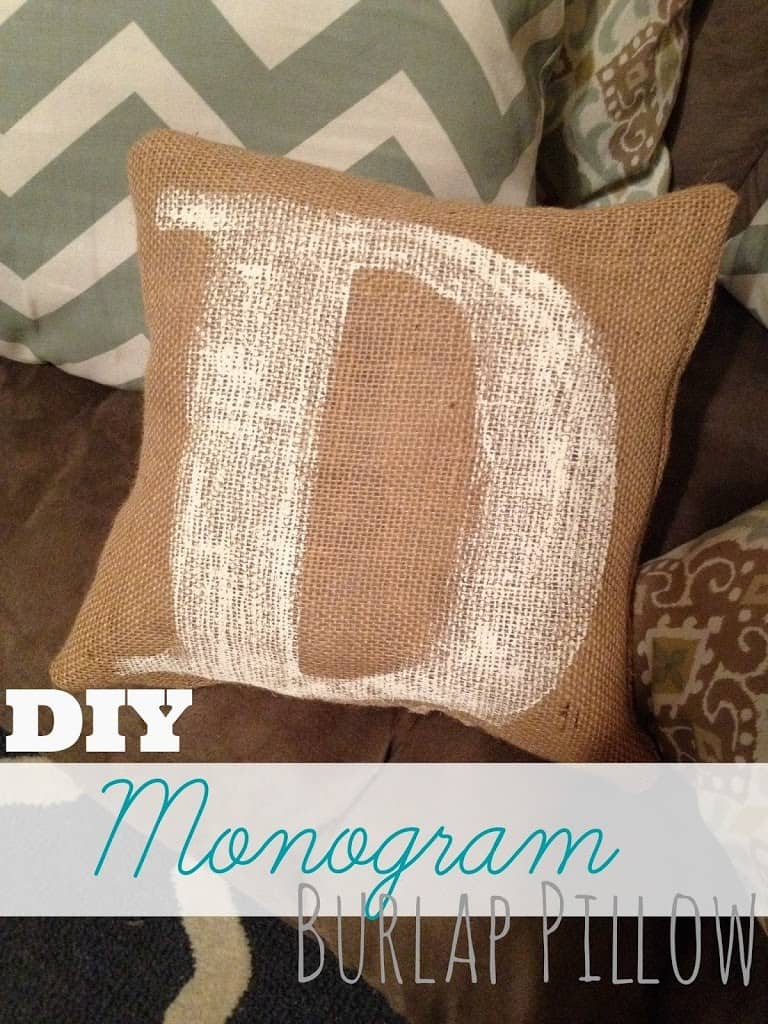 DIY Monogram Burlap Pillow