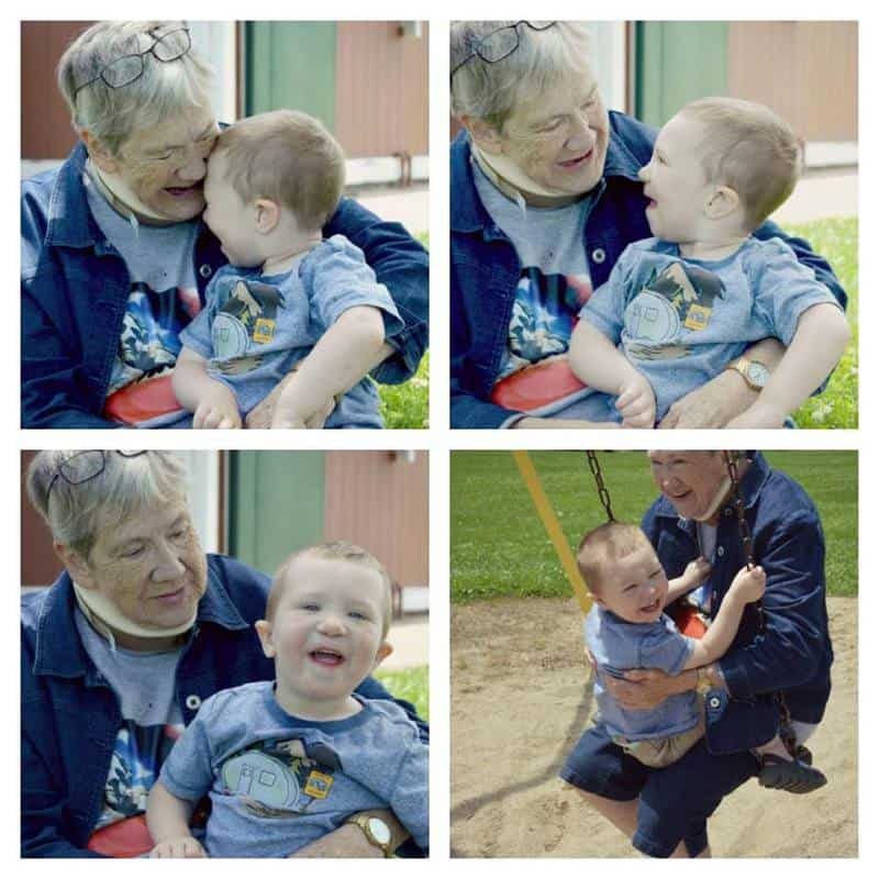 Collage of pictures with a boy and his grandmother