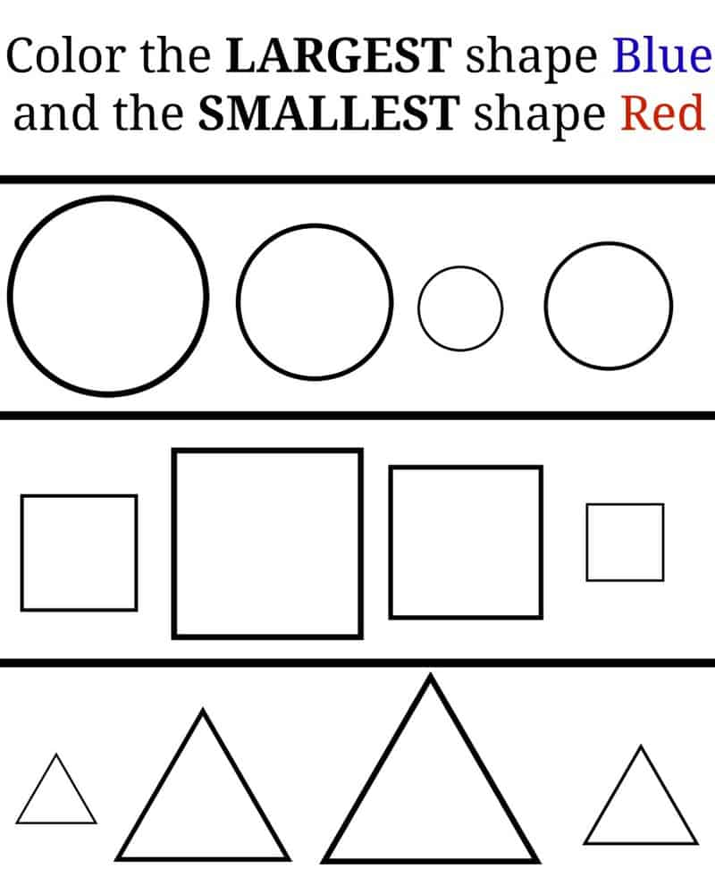 Color the shapes! Learning large and small.