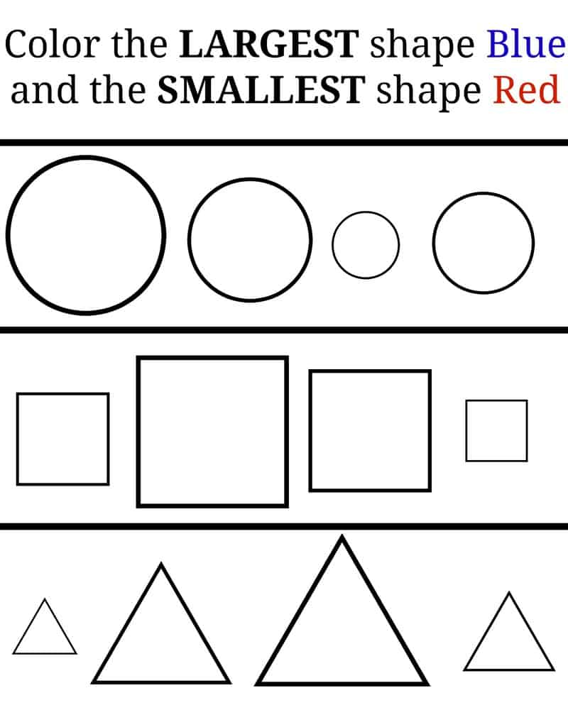 Worksheet Big And Small Worksheets For Preschool learning small and large free printables the diary of a real small