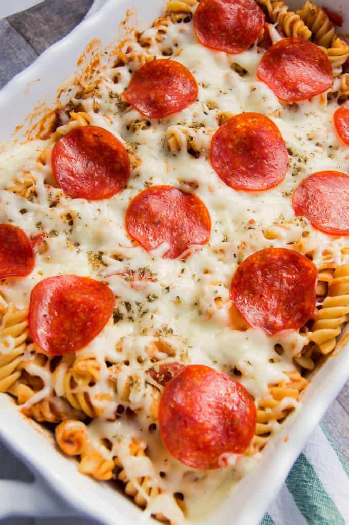 Pepperoni Pizza in casserole dish