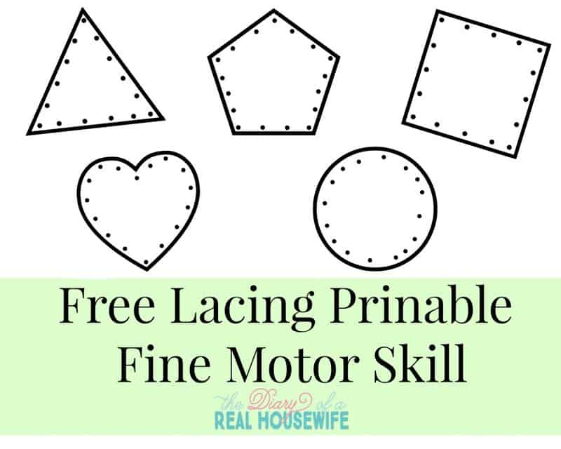 free lacing printable fine motor skills activity for