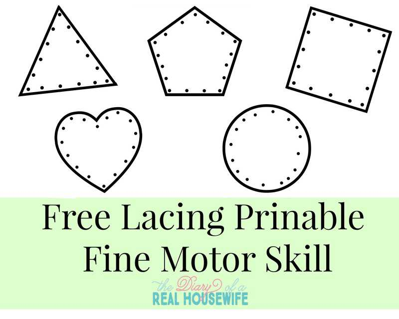free lacing printable fine motor skills activity for - Free Toddler Printables