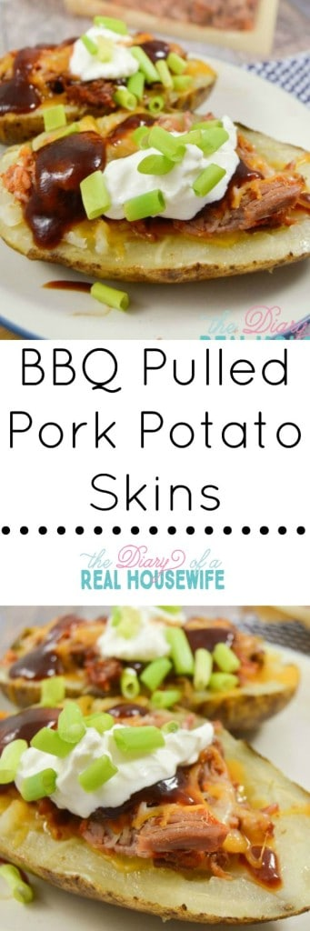 BBQ Pulled Pork Potato Skins. These are so easy and mu family loved it.