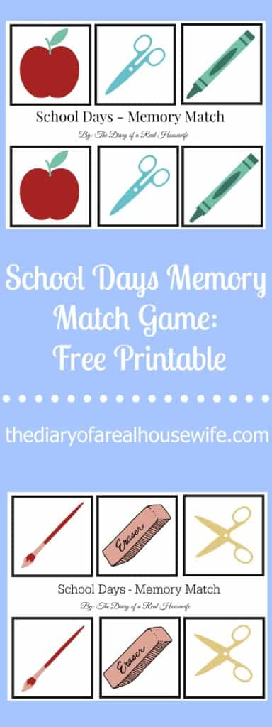 FREE PRINTABLE for Kids- School Days Memory Match