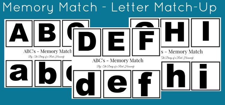 Free Printable Memory Match: Letter Match-Up