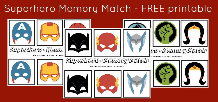 Superhero Memory Match – FREE Printable