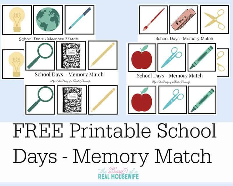 Free Printable - School Days Memory Match Game
