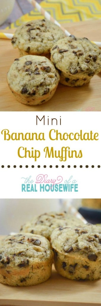 Mini banana chocolate chop muffins. I love freezing these and having them all week. Great  for breakfast ideas!