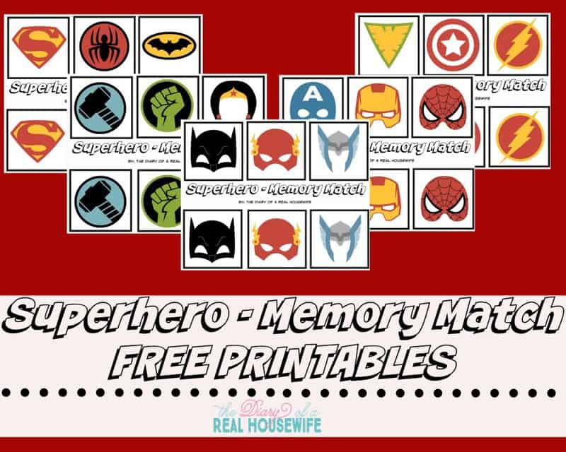 Superhero Memory Match! FREE prints!