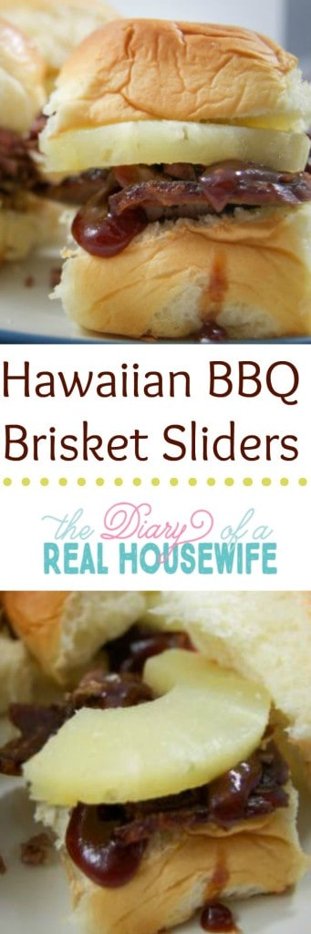 Hawaiian BBQ Brisket Sliders! So very good. You are going to love this recipe. Perfect football or tailgate recipe!