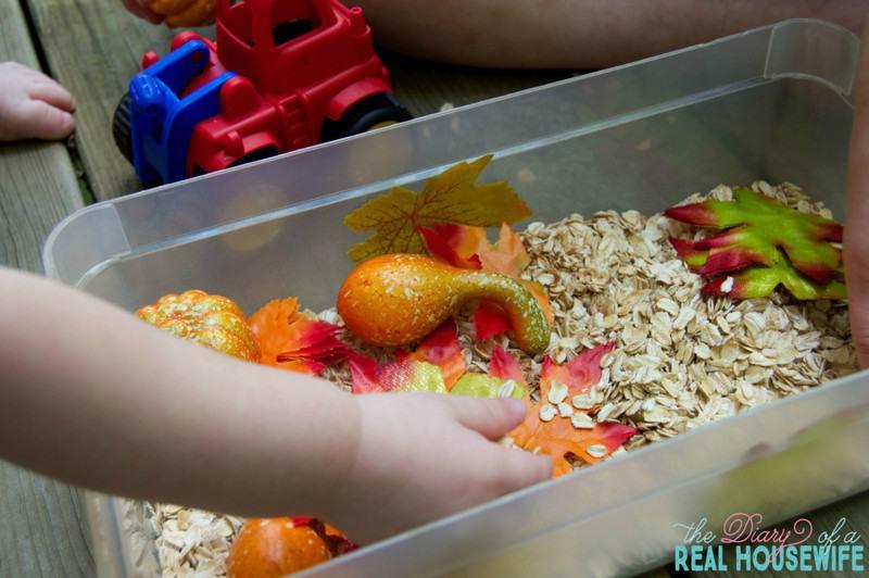 Oatmeal fall sensory bin