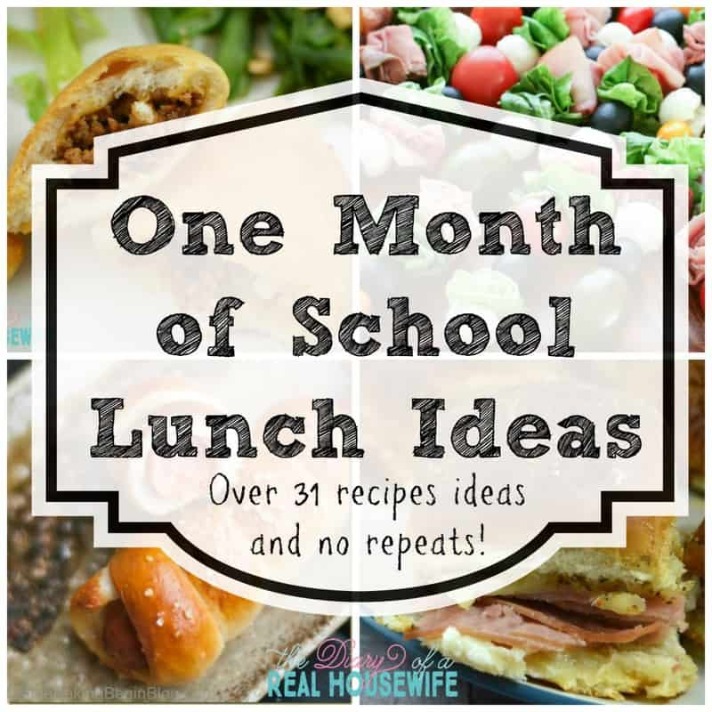 One month of school lunch ideas