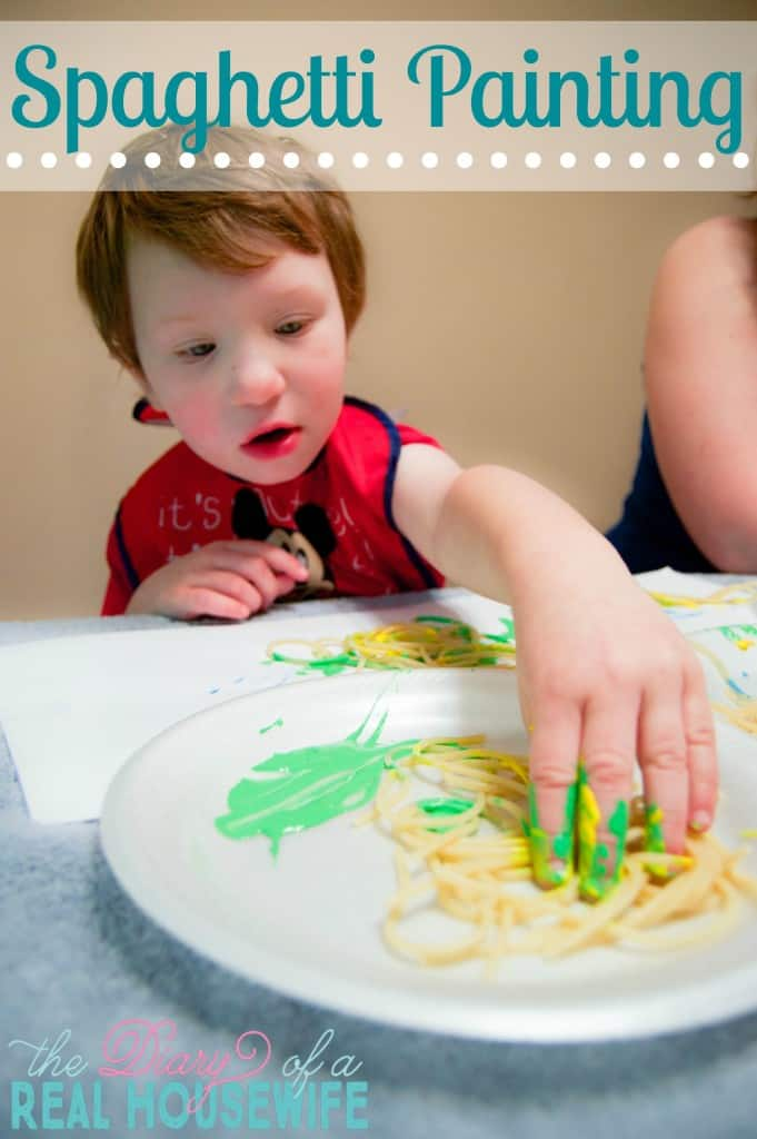 Spaghetti Painting! This was such a fun activity that my kids loved.