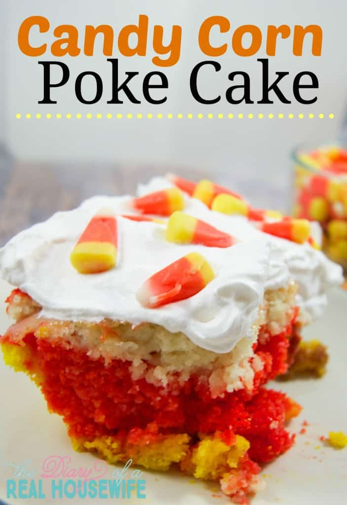 Candy Corn Poke Cake! Easy and fun dessert!