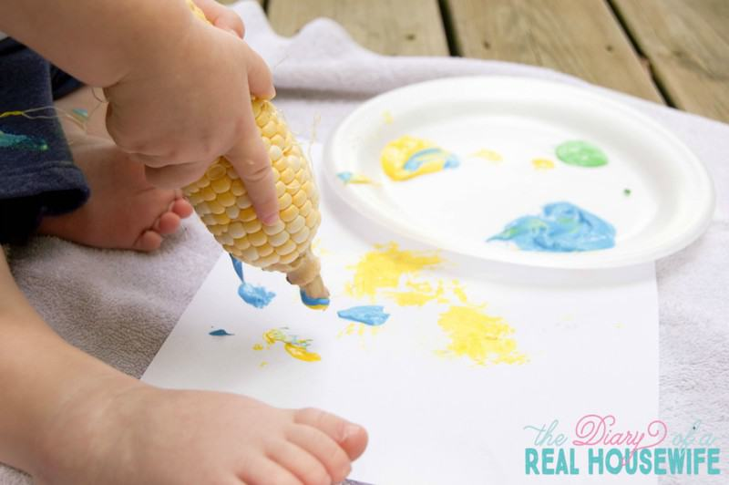 Corn painting! Toddler fall activity