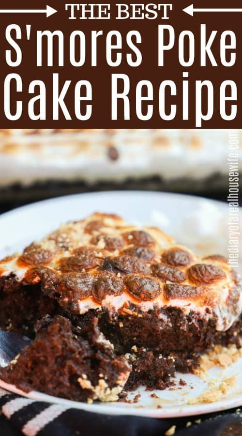 S'mores Poke Cake with title text