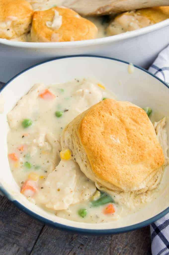 Biscuit Chicken Pot Pie in a bowl