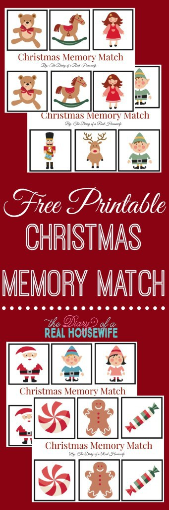 Free Printable Memory Match! Christmas theme toddler game.