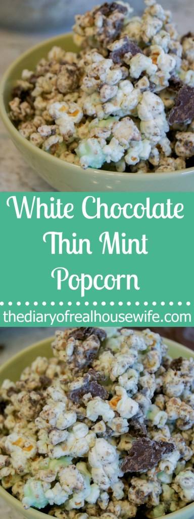 White Chocolate Thin Mint Popcorn. The perfect treat.