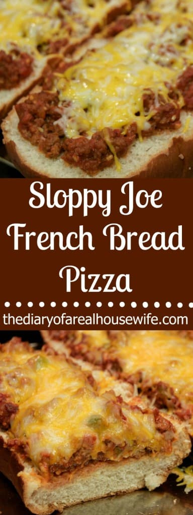 Sloppy Joe French Bread Pizza. A great family dinner idea.