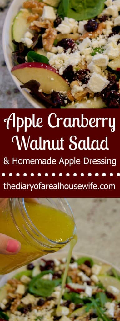 Apple Cranberry Walnut Salad plus a easy homemade apple dressing.