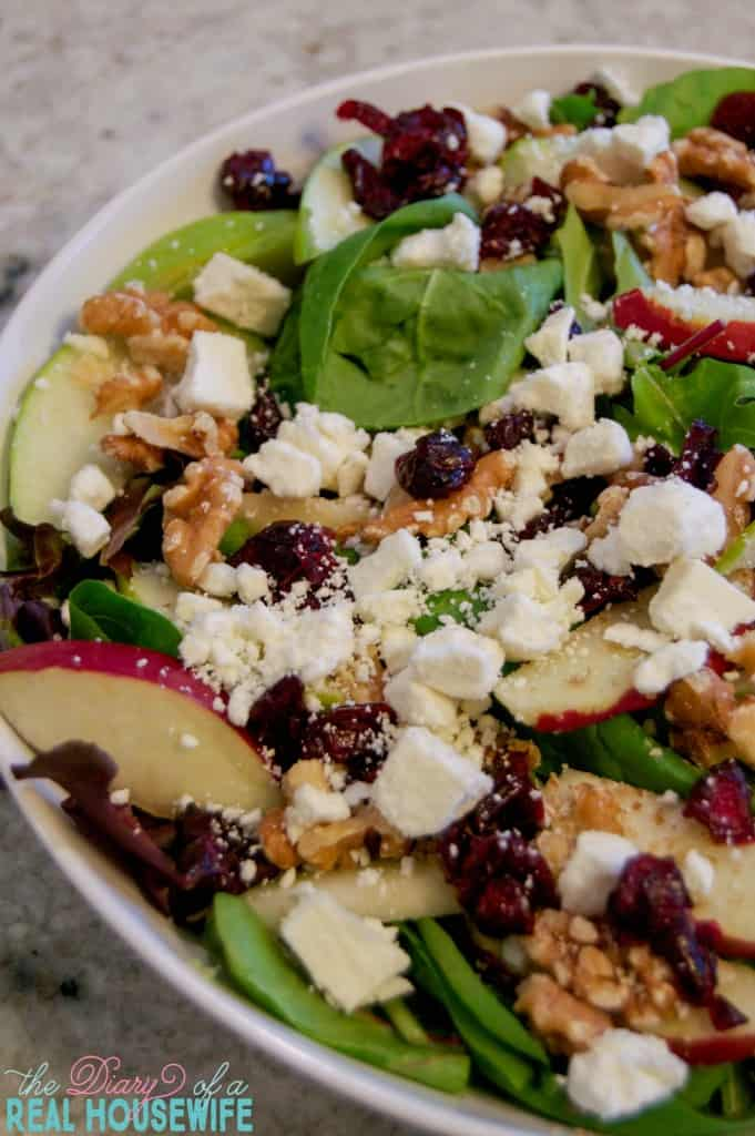 Apple Cranberry Walnut Salad  with an awesome homemade dressing