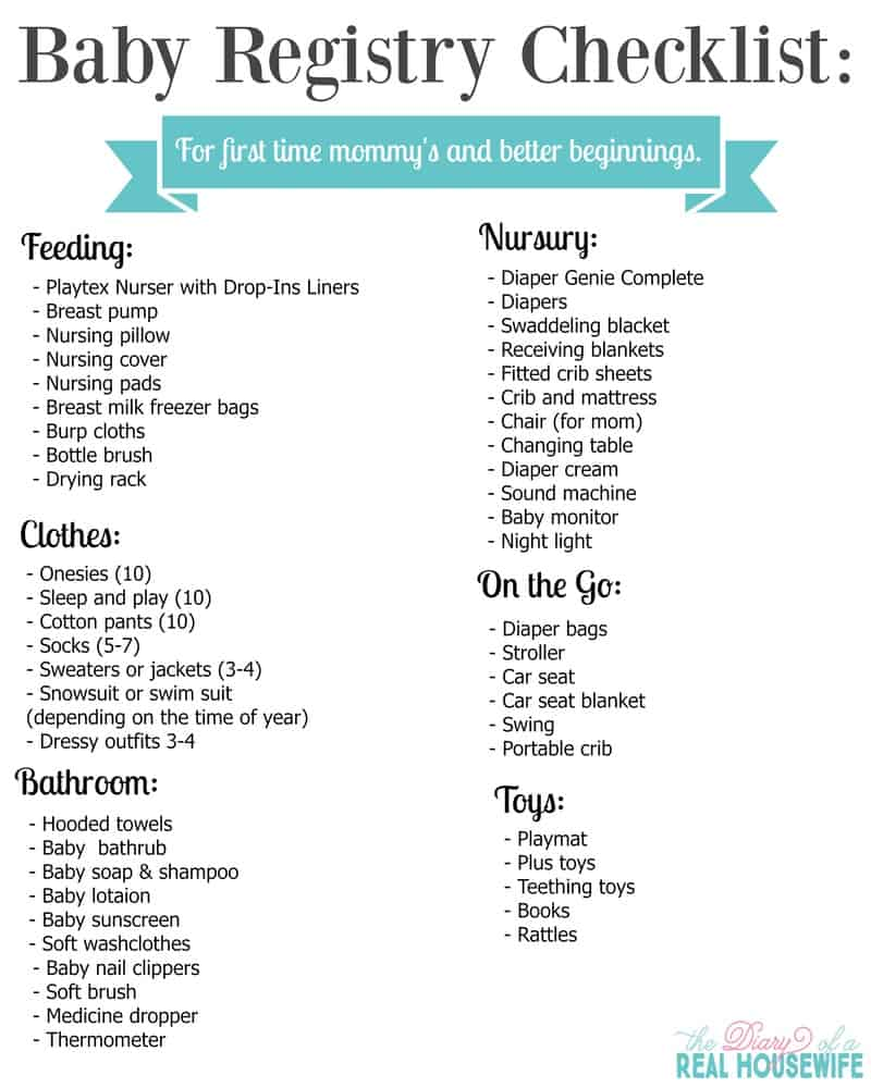 Amazing Baby Registry Checklist: For A Better Beginning FREE PRINTABLE   The Diary  Of A Real Housewife Great Ideas