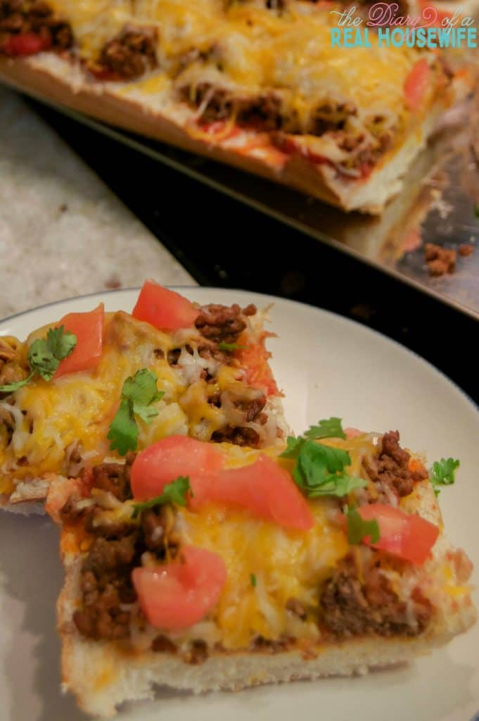 Ready to eat! French Bread Taco Pizza