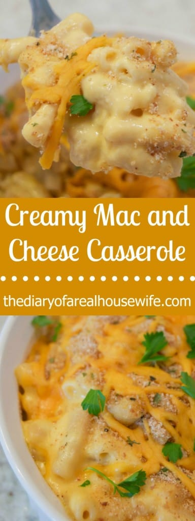 The BEST Creamy Mac and Cheese Casserole. I LOVE this recipe and it's one of my families favorites.
