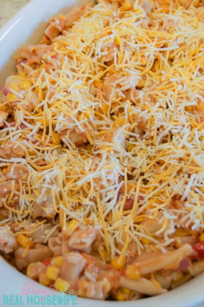 bbq-ranch-chicken-casserole-topped-with-cheese