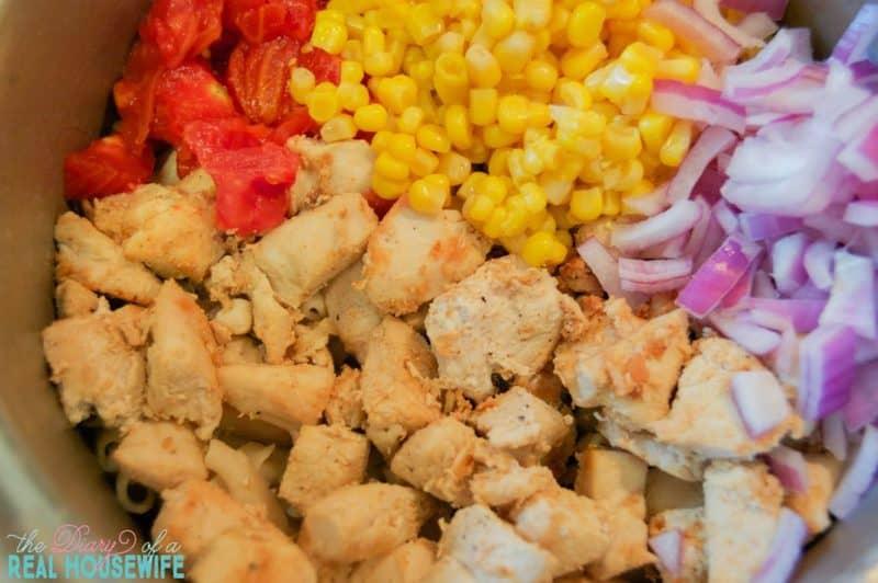 making-simple-bbq-ranch-chicken-casserole
