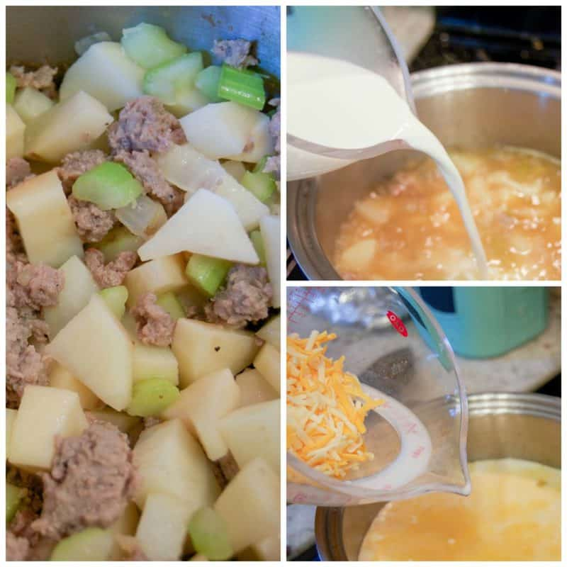 making-cheesy-sausage-and-potato-soup
