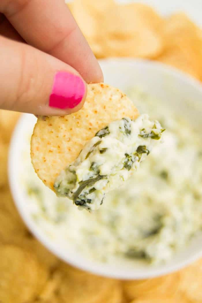 Cheesy Spinach Dip on tortilla chip
