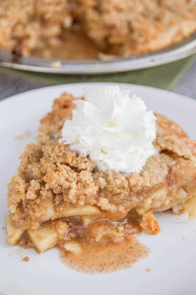 Dutch Apple pie with whipped cream on top