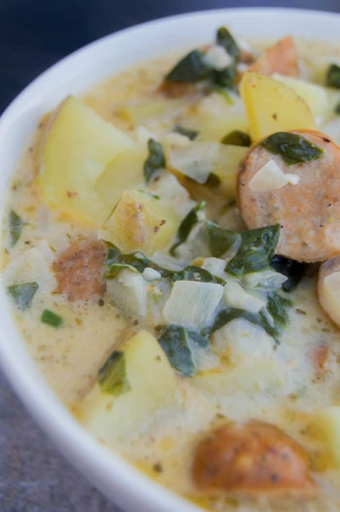 Creamy Smoked Sausage Spinach and Potato Soup