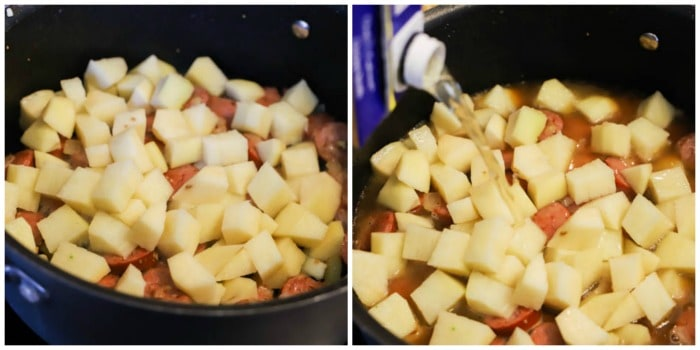 potatoes in a pot with sausage