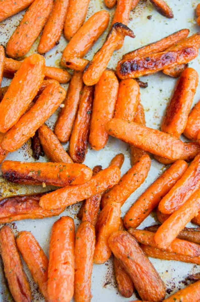 Close up of Roasted Ranch Carrots on baking sheet