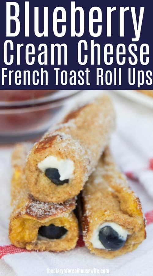 Blueberry French Toast Roll-ups stacked on white and red striped towel