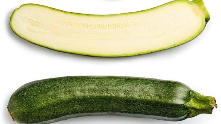 Zucchini sliced in half
