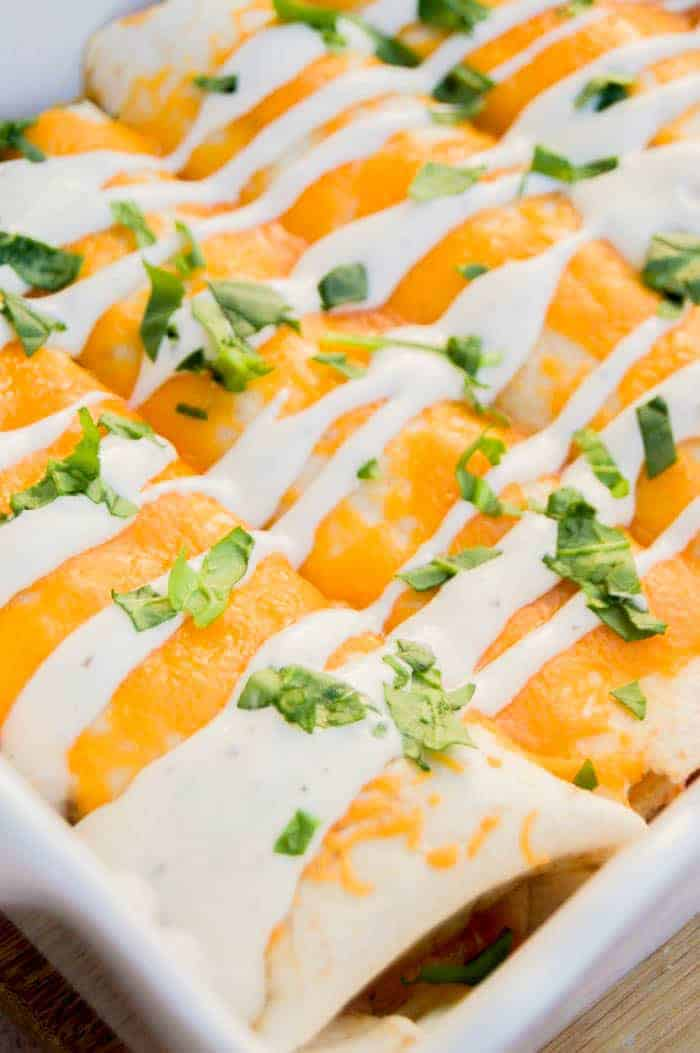 Cheesy Ranch Chicken Enchiladas