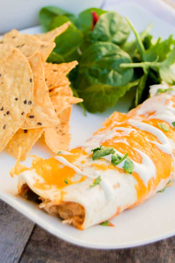 Ranch enchilada on white plate with tortilla chips and a salad