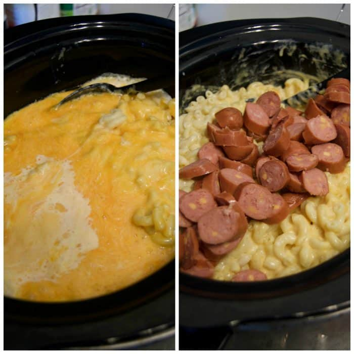 Slow Cooker Mac and Cheese with Cheddar Smoked Sausage