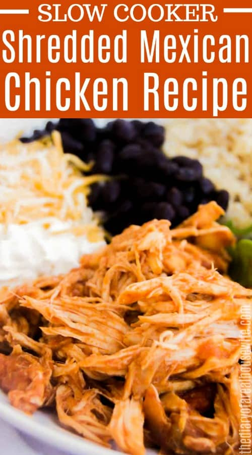 Slow Cooker Shredded Mexican Chicken with text over picture