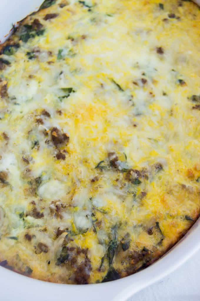 Spinach and Mozzarella Easy Low Carb Breakfast Casserole