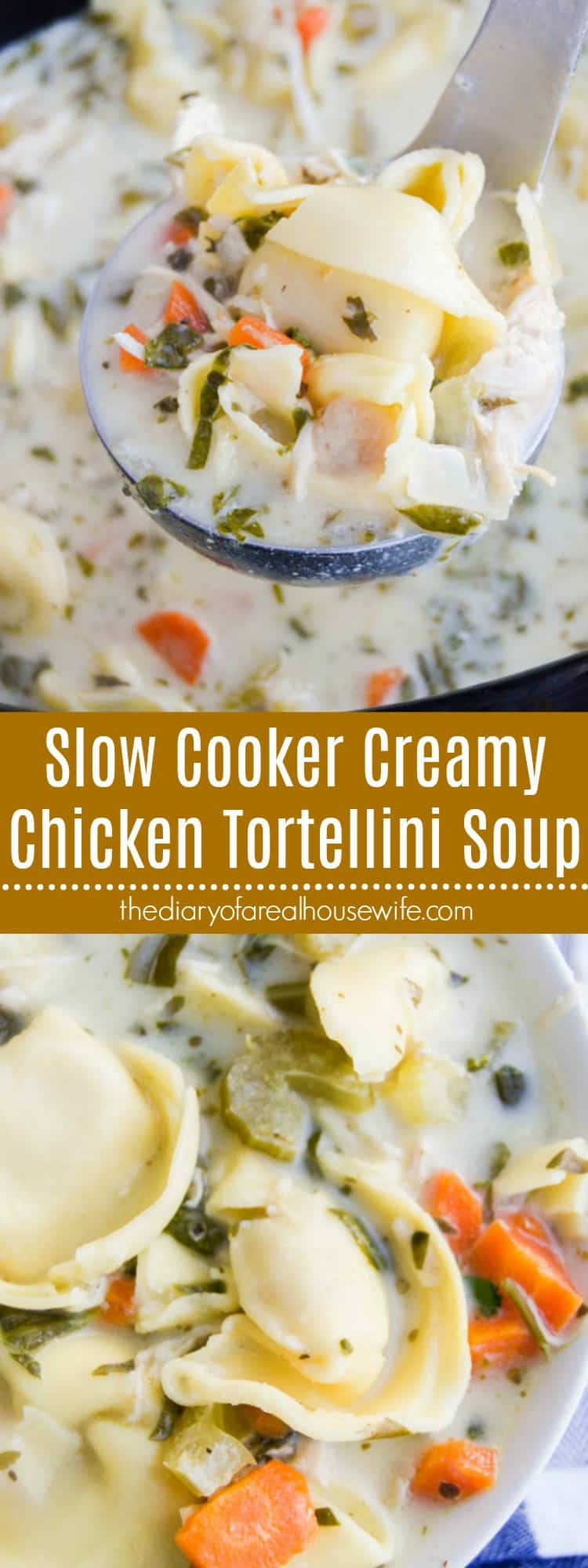 Slow Cooker Creamy Chicken Tortellini Soup