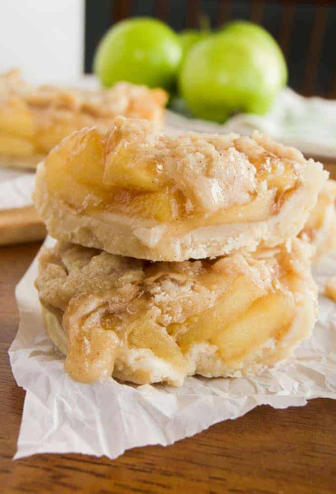 Dutch Apple Pie Bars stacked on top of each other